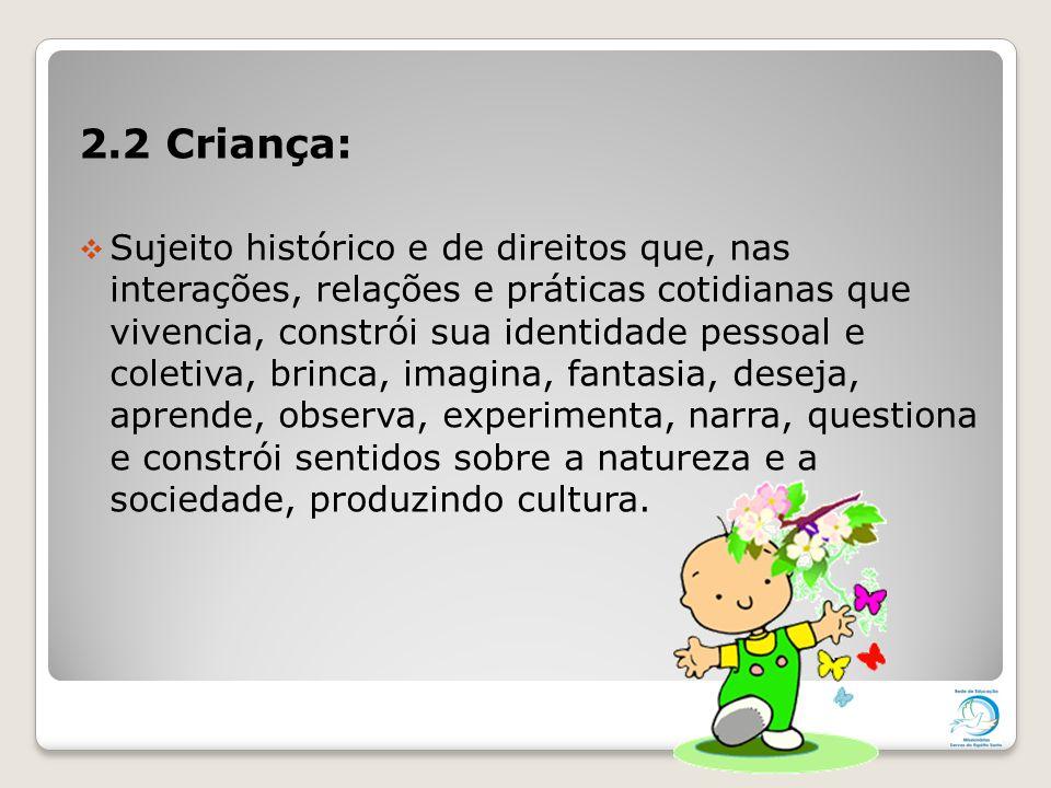 2.2 Criança:  Sujeito histórico e de direitos que, nas interações, relações e práticas cotidianas que vivencia, constrói sua identidade pessoal e col
