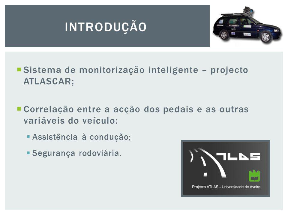 Sistema de monitorização inteligente – projecto ATLASCAR;  Correlação entre a acção dos pedais e as outras variáveis do veículo:  Assistência à condução;  Segurança rodoviária.