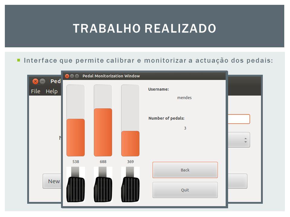  Interface que permite calibrar e monitorizar a actuação dos pedais: TRABALHO REALIZADO
