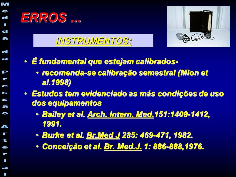 É fundamental que estejam calibrados-É fundamental que estejam calibrados- recomenda-se calibração semestral (Mion et al.1998)recomenda-se calibração