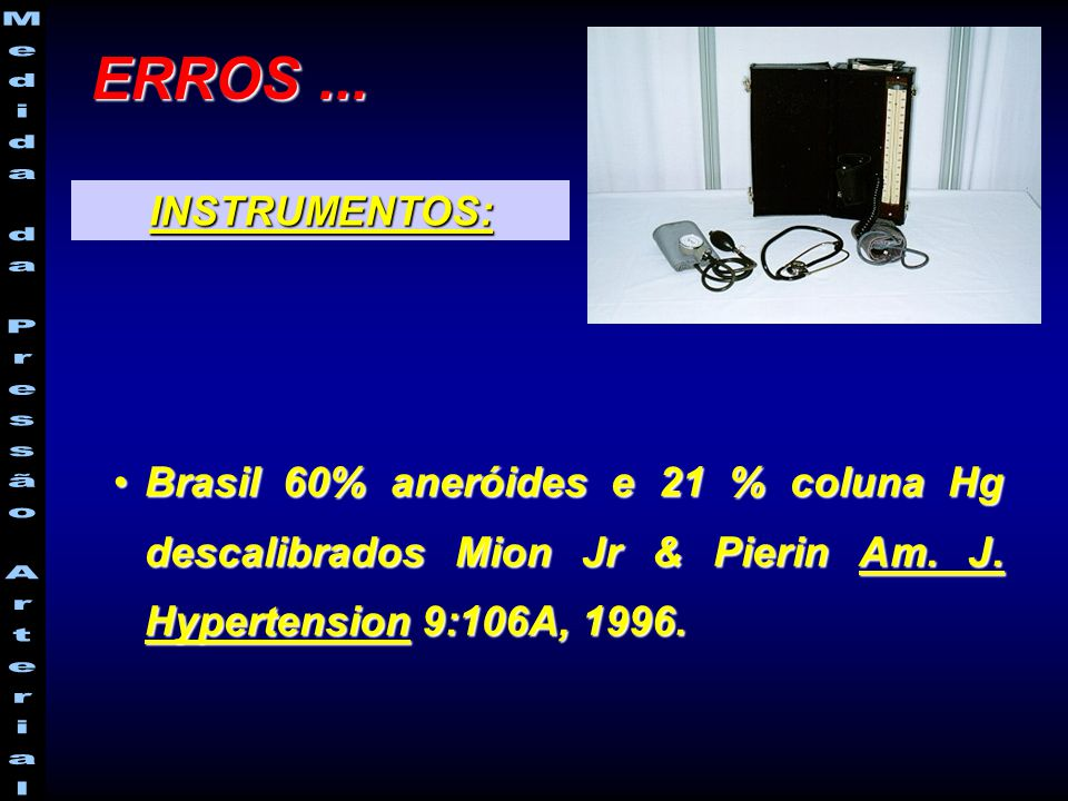 Brasil 60% aneróides e 21 % coluna Hg descalibrados Mion Jr & Pierin Am. J. Hypertension 9:106A, 1996.Brasil 60% aneróides e 21 % coluna Hg descalibra
