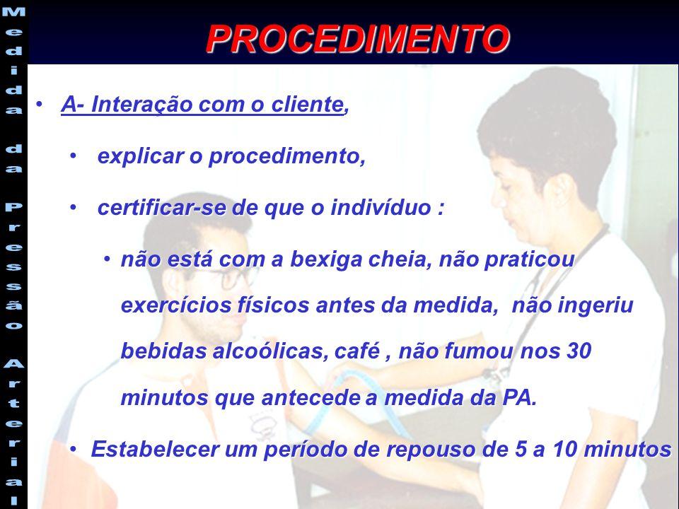 A- Interação com o cliente,A- Interação com o cliente, explicar o procedimento, explicar o procedimento, certificar-se de que o indivíduo : certificar