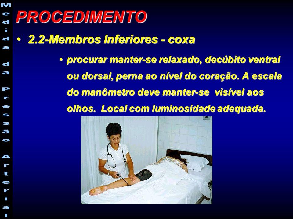 2.2-Membros Inferiores - coxa2.2-Membros Inferiores - coxa procurar manter-se relaxado, decúbito ventral ou dorsal, perna ao nível do coração. A escal