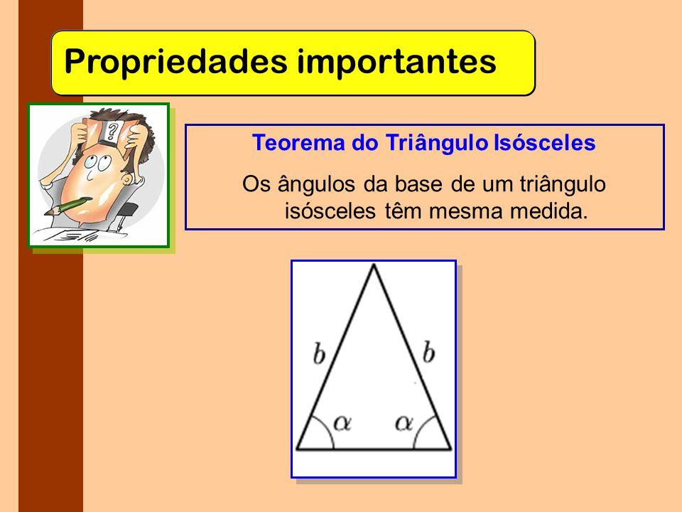 Propriedades importantes Teorema do Triângulo Isósceles Os ângulos da base de um triângulo isósceles têm mesma medida.