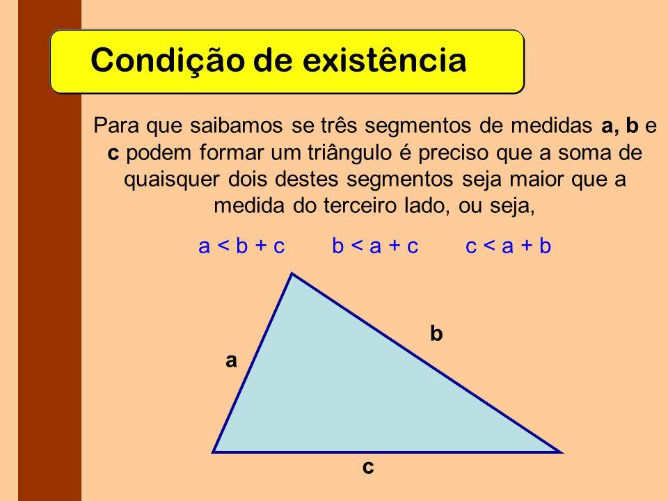 Ângulos internos Todo triângulo ABC tem três ângulos internos, formados nos vértices A, B e C.