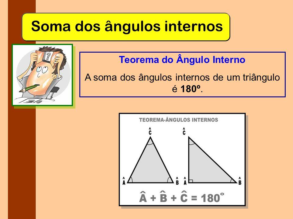 Soma dos ângulos internos Teorema do Ângulo Interno A soma dos ângulos internos de um triângulo é 180º.