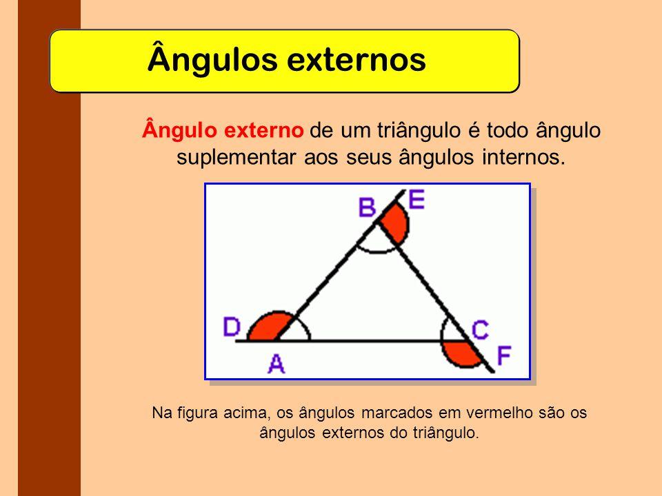 Ângulos externos Ângulo externo de um triângulo é todo ângulo suplementar aos seus ângulos internos.
