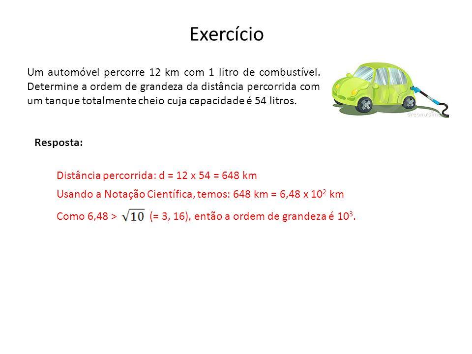 Exercício Um automóvel percorre 12 km com 1 litro de combustível.