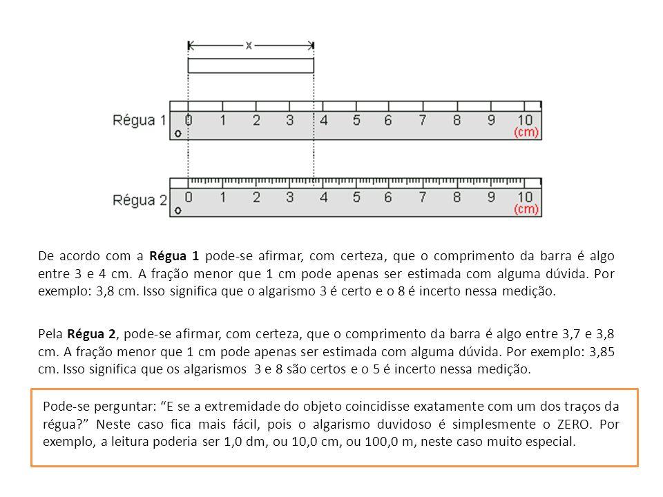 Pela Régua 2, pode-se afirmar, com certeza, que o comprimento da barra é algo entre 3,7 e 3,8 cm.