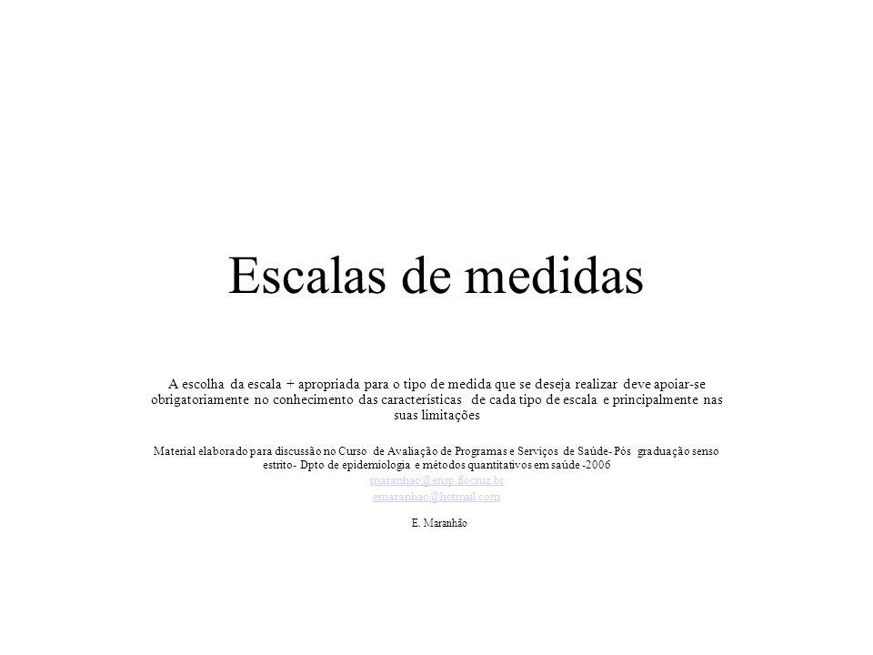 EX: Medida ordinal da atitude para com o uso de anticoncepcionais ________4____________________________________________3____________2________1__ V V V V Desaprovação total aprovação escassa aprovação aprovação moderada total E.Maranhão