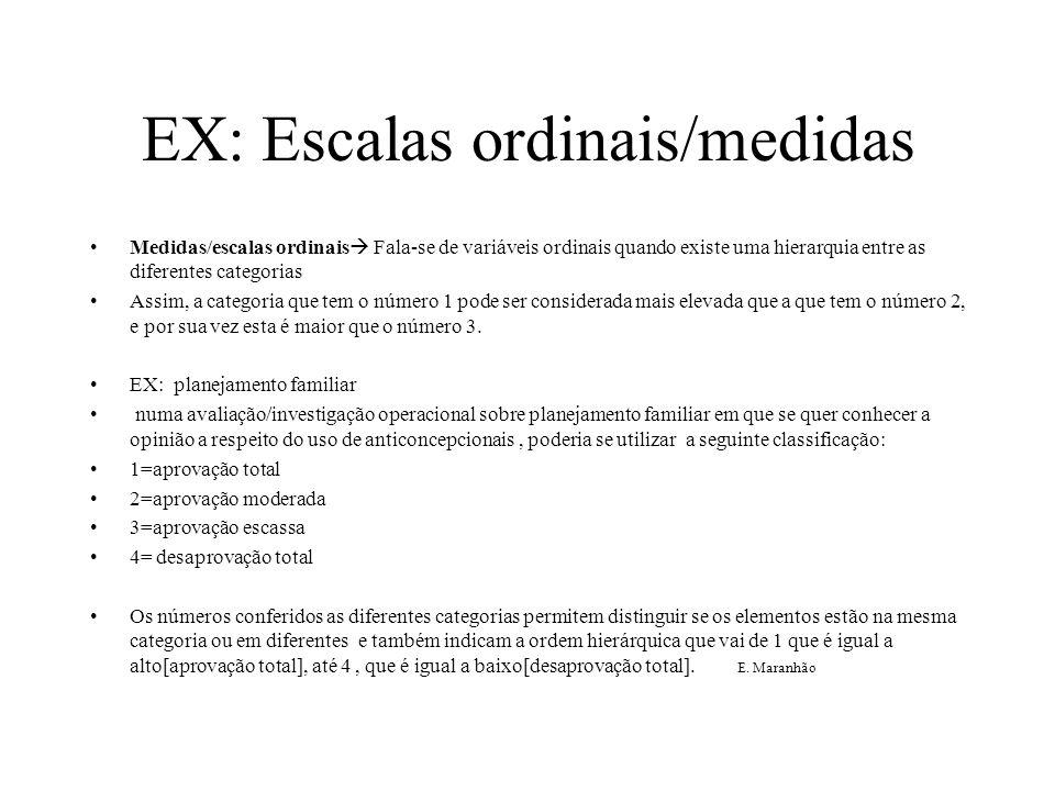 EX: Escalas ordinais/medidas Medidas/escalas ordinais  Fala-se de variáveis ordinais quando existe uma hierarquia entre as diferentes categorias Assi