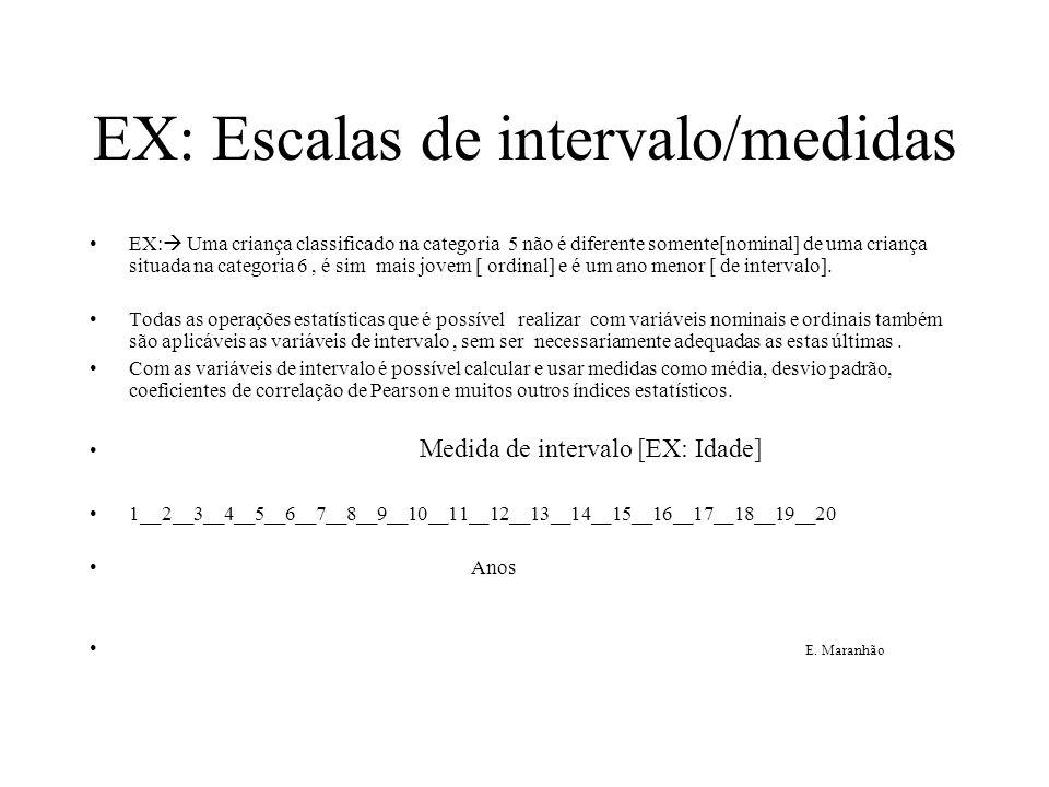 EX: Escalas de intervalo/medidas EX:  Uma criança classificado na categoria 5 não é diferente somente[nominal] de uma criança situada na categoria 6,