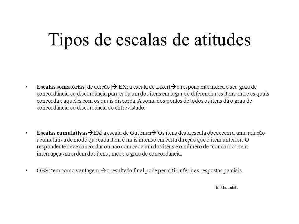 Tipos de escalas de atitudes Escalas somatórias[ de adição]  EX: a escala de Likert  o respondente indica o seu grau de concordância ou discordância