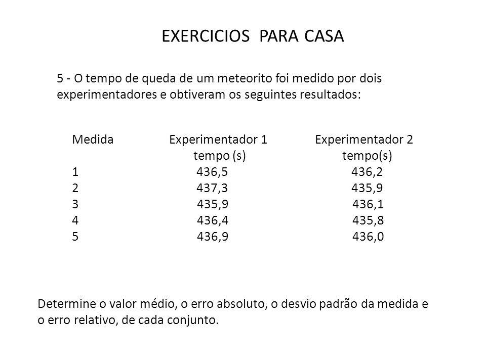 EXERCICIOS PARA CASA 5 - O tempo de queda de um meteorito foi medido por dois experimentadores e obtiveram os seguintes resultados: Medida Experimenta