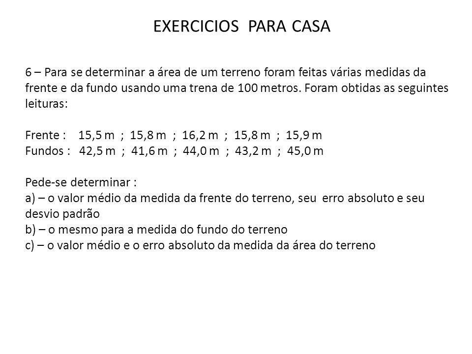 EXERCICIOS PARA CASA 6 – Para se determinar a área de um terreno foram feitas várias medidas da frente e da fundo usando uma trena de 100 metros. Fora
