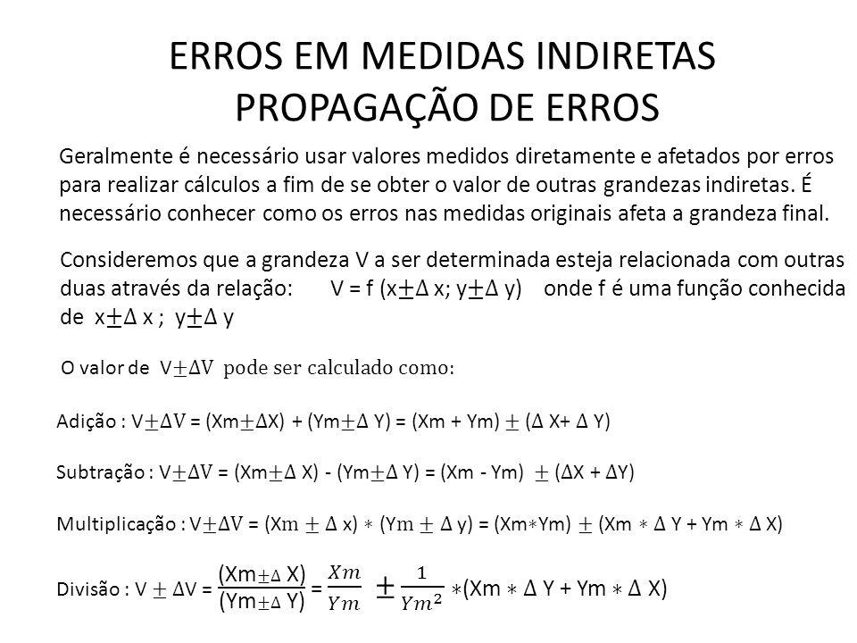 ERROS EM MEDIDAS INDIRETAS PROPAGAÇÃO DE ERROS Geralmente é necessário usar valores medidos diretamente e afetados por erros para realizar cálculos a