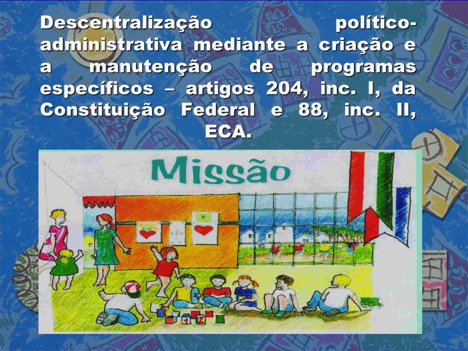 Descentralização político- administrativa mediante a criação e a manutenção de programas específicos – artigos 204, inc. I, da Constituição Federal e