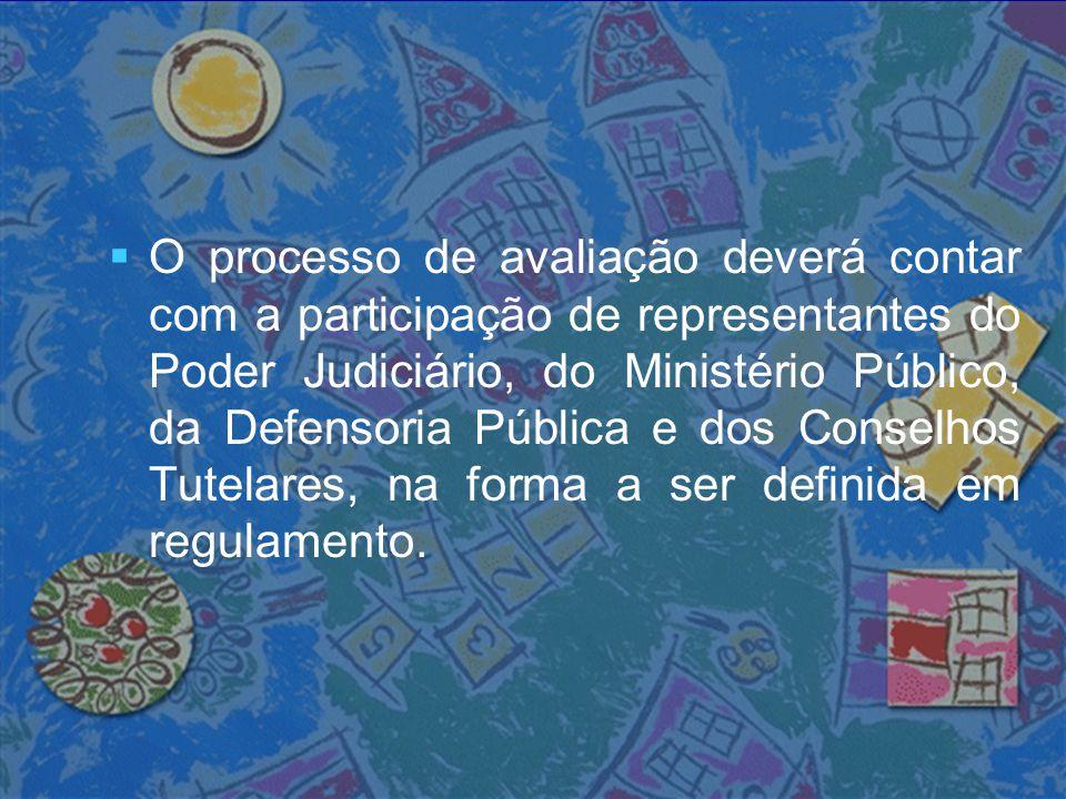   O processo de avaliação deverá contar com a participação de representantes do Poder Judiciário, do Ministério Público, da Defensoria Pública e dos