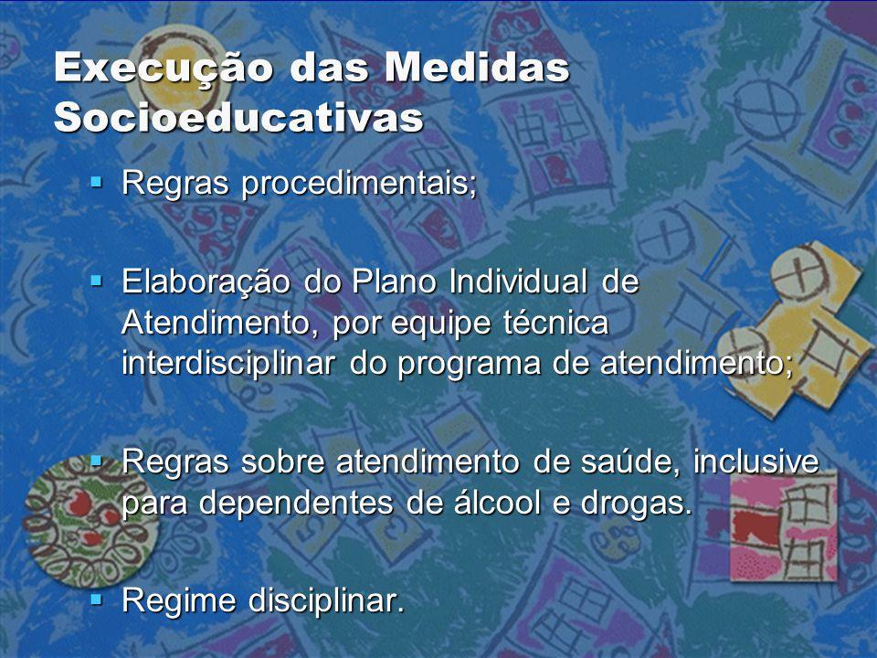 Execução das Medidas Socioeducativas  Regras procedimentais;  Elaboração do Plano Individual de Atendimento, por equipe técnica interdisciplinar do