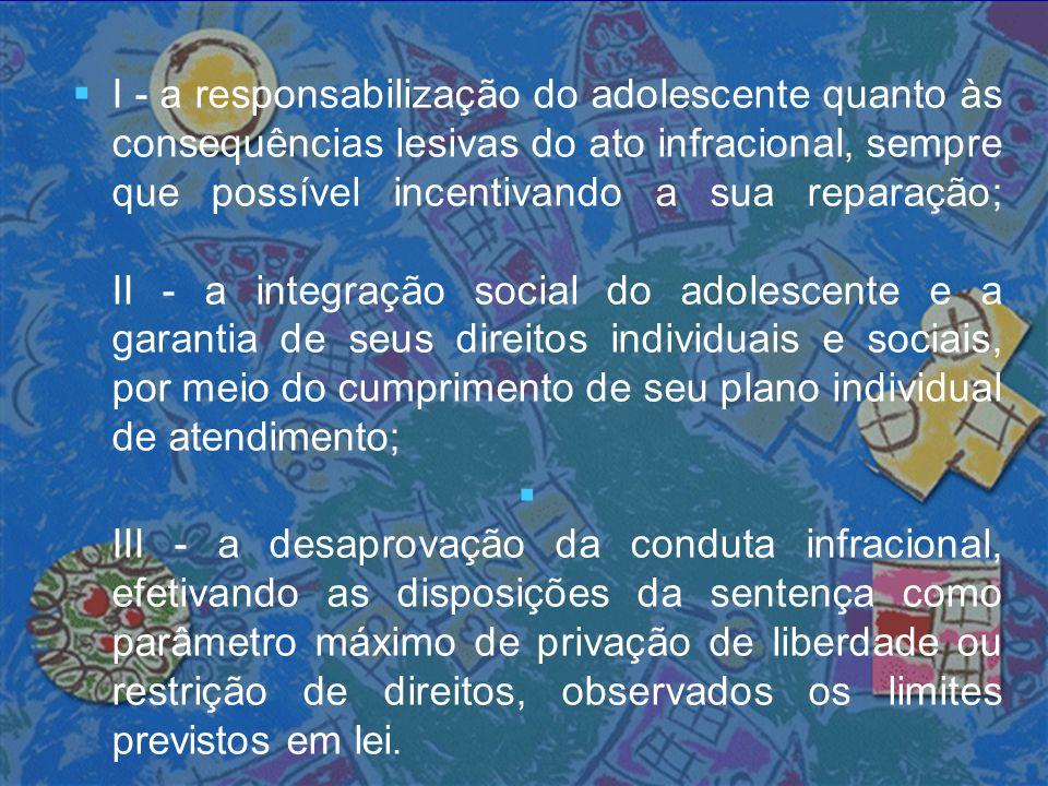 Aos Municípios cabe :  1) instituir, coordenar e manter o Sistema Municipal de Atendimento Socioeducativo;  2)  2) criar e manter Programas de Atendimento para a execução das medidas socioeducativas em meio aberto;  3) elaborar o Plano Municipal de Atendimento Socioeducativo;