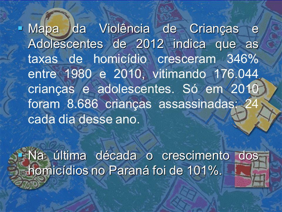  Mapa da Violência de Crianças e Adolescentes de 2012 indica que as  Mapa da Violência de Crianças e Adolescentes de 2012 indica que as taxas de hom