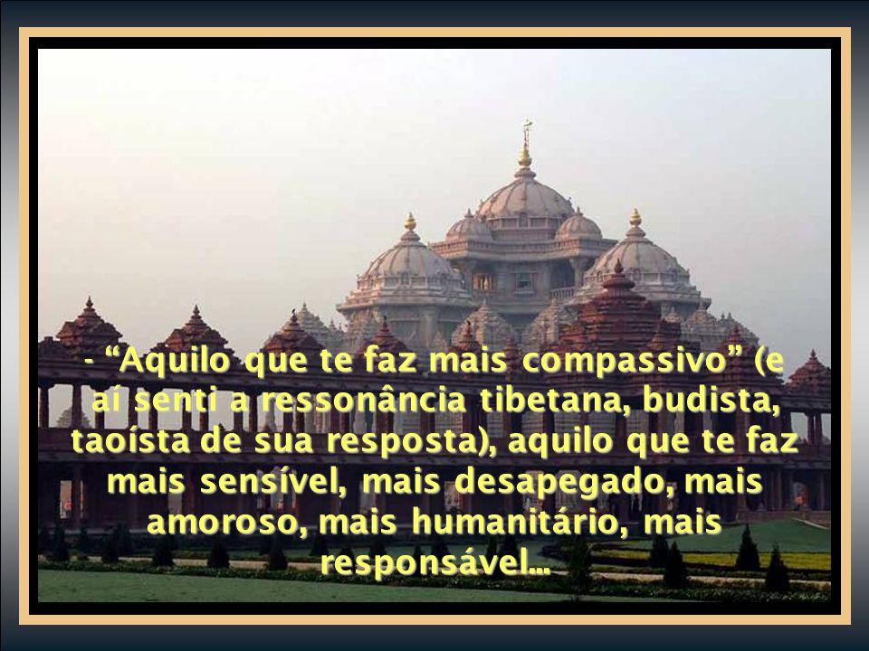 - Aquilo que te faz mais compassivo (e aí senti a ressonância tibetana, budista, taoísta de sua resposta), aquilo que te faz mais sensível, mais desapegado, mais amoroso, mais humanitário, mais responsável...