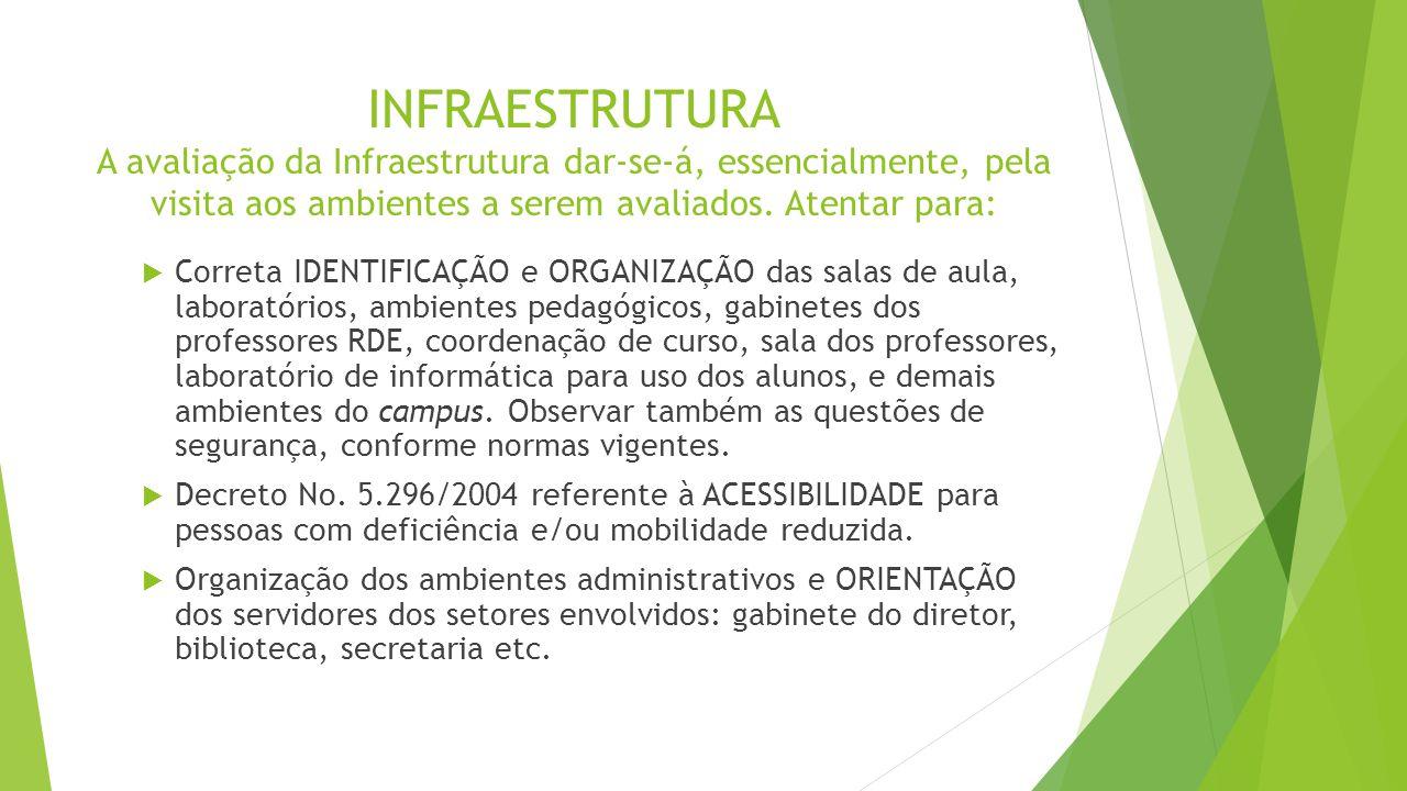 INFRAESTRUTURA A avaliação da Infraestrutura dar-se-á, essencialmente, pela visita aos ambientes a serem avaliados. Atentar para:  Correta IDENTIFICA