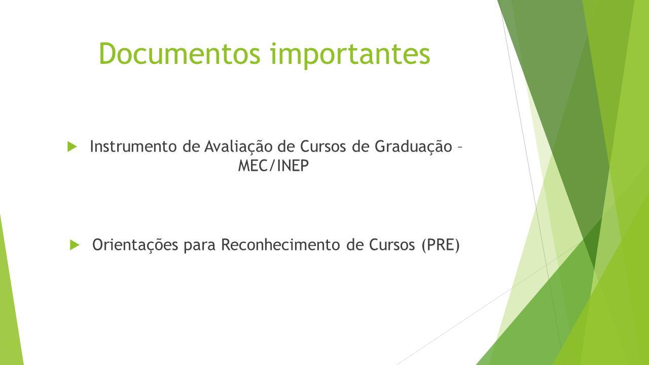 Documentos importantes  Instrumento de Avaliação de Cursos de Graduação – MEC/INEP  Orientações para Reconhecimento de Cursos (PRE)