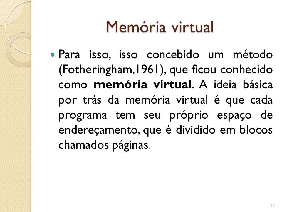 Memória virtual Para isso, isso concebido um método (Fotheringham,1961), que ficou conhecido como memória virtual. A ideia básica por trás da memória