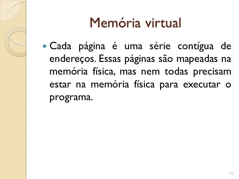 Memória virtual Cada página é uma série contígua de endereços. Essas páginas são mapeadas na memória física, mas nem todas precisam estar na memória f
