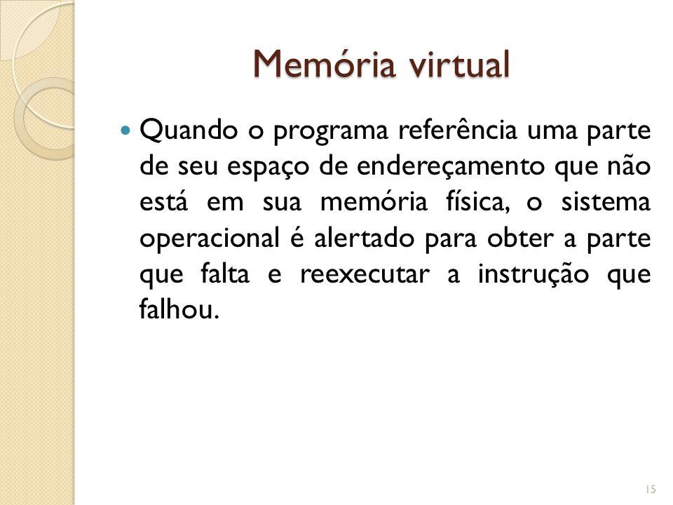 Memória virtual Quando o programa referência uma parte de seu espaço de endereçamento que não está em sua memória física, o sistema operacional é aler