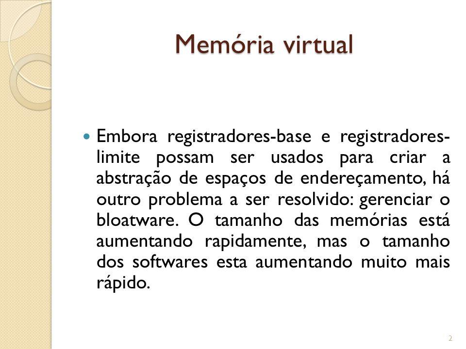 Memória virtual Na década de 1980, muitas universidades executavam um sistema de tempo compartilhado com dezenas de usuários(mais ou menos satisfeitos) simultâneos em um VAX 4MB.