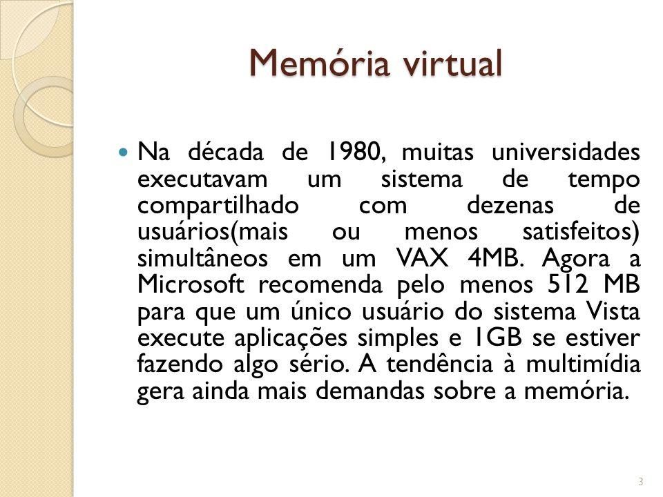 Memória virtual Na década de 1980, muitas universidades executavam um sistema de tempo compartilhado com dezenas de usuários(mais ou menos satisfeitos