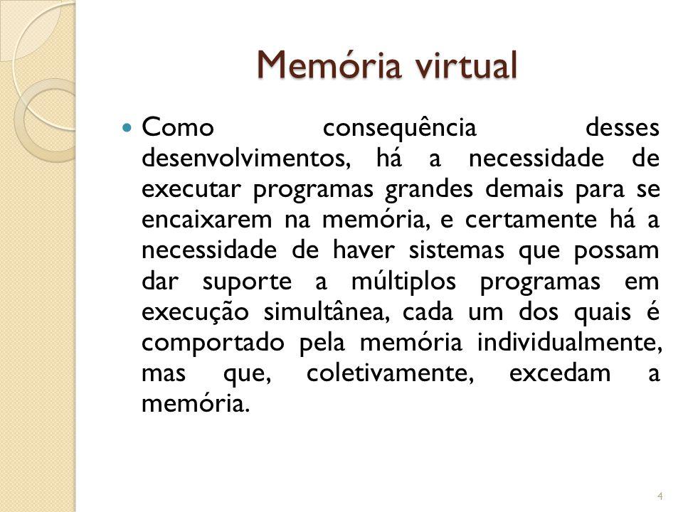 Memória virtual Como consequência desses desenvolvimentos, há a necessidade de executar programas grandes demais para se encaixarem na memória, e cert