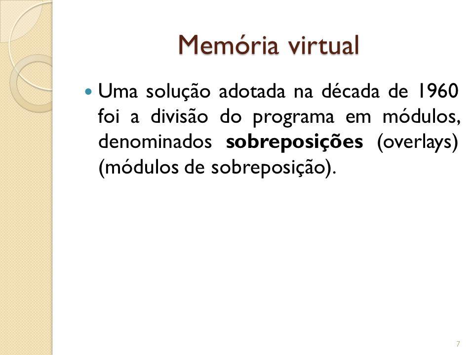 Memória virtual Uma solução adotada na década de 1960 foi a divisão do programa em módulos, denominados sobreposições (overlays) (módulos de sobreposi