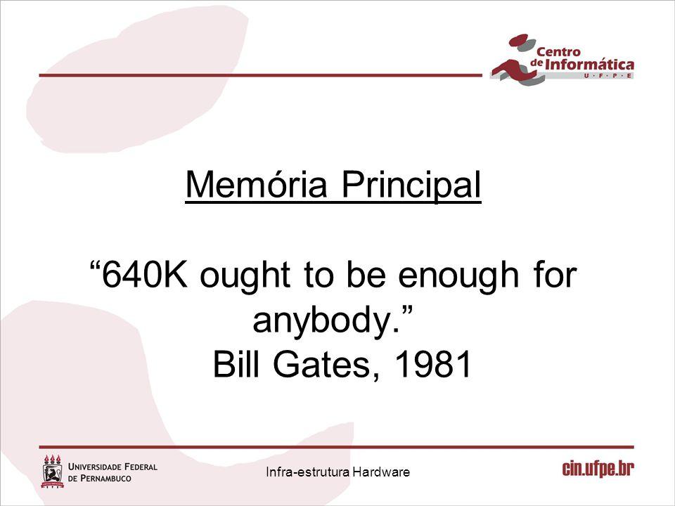 "Memória Principal ""640K ought to be enough for anybody."" Bill Gates, 1981 Infra-estrutura Hardware"