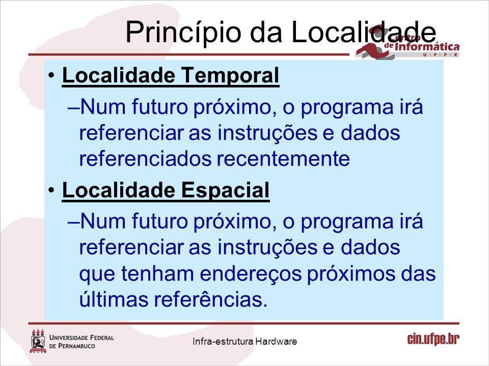Princípio da Localidade Localidade Temporal –Num futuro próximo, o programa irá referenciar as instruções e dados referenciados recentemente Localidad