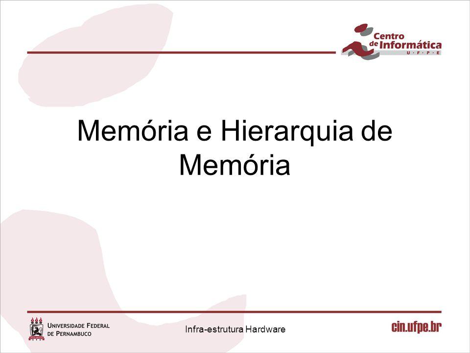 Memória e Hierarquia de Memória Infra-estrutura Hardware