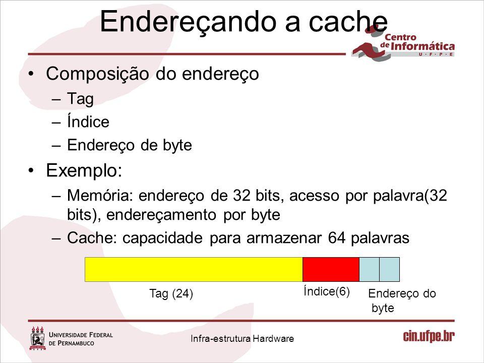 Endereçando a cache Composição do endereço –Tag –Índice –Endereço de byte Exemplo: –Memória: endereço de 32 bits, acesso por palavra(32 bits), endereç