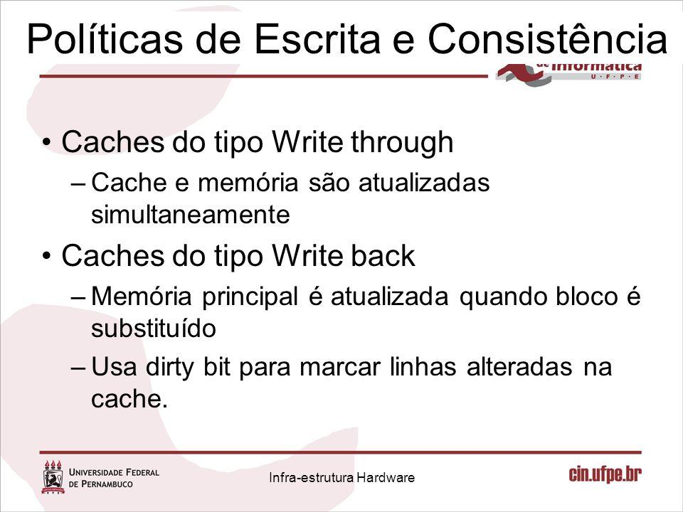 Políticas de Escrita e Consistência Caches do tipo Write through –Cache e memória são atualizadas simultaneamente Caches do tipo Write back –Memória p