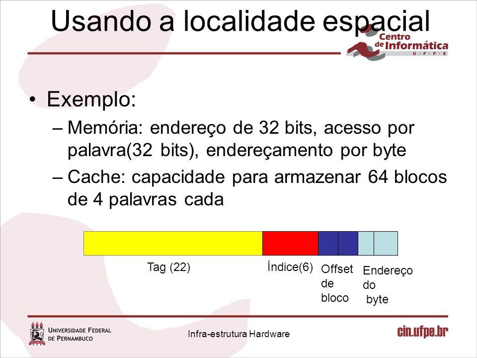 Usando a localidade espacial Exemplo: –Memória: endereço de 32 bits, acesso por palavra(32 bits), endereçamento por byte –Cache: capacidade para armaz
