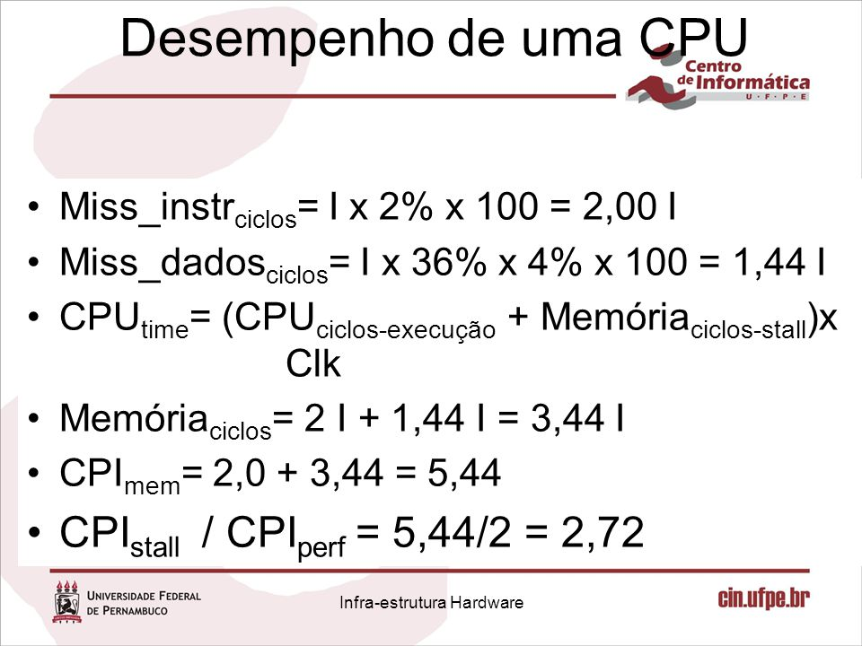 Desempenho de uma CPU Miss_instr ciclos = I x 2% x 100 = 2,00 I Miss_dados ciclos = I x 36% x 4% x 100 = 1,44 I CPU time = (CPU ciclos-execução + Memó