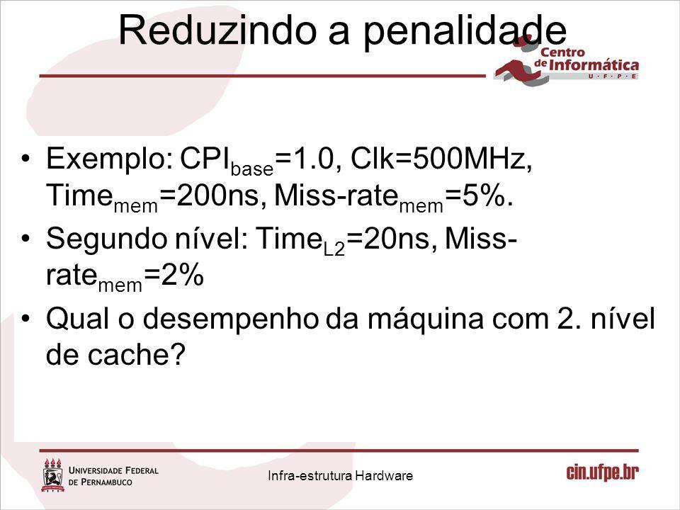 Reduzindo a penalidade Exemplo: CPI base =1.0, Clk=500MHz, Time mem =200ns, Miss-rate mem =5%. Segundo nível: Time L2 =20ns, Miss- rate mem =2% Qual o