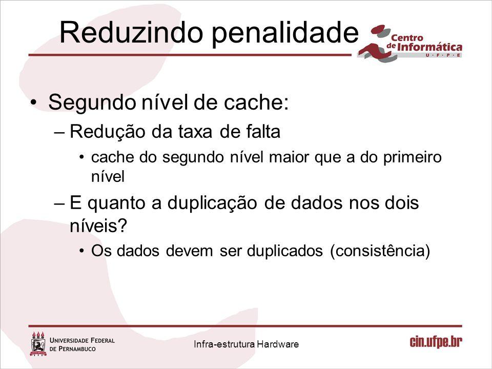 Reduzindo penalidade Segundo nível de cache: –Redução da taxa de falta cache do segundo nível maior que a do primeiro nível –E quanto a duplicação de
