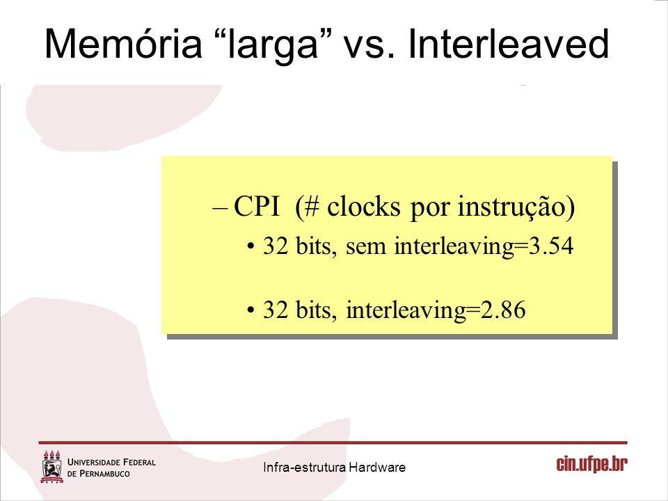 """Memória """"larga"""" vs. Interleaved –CPI (# clocks por instrução) 32 bits, sem interleaving=3.54 32 bits, interleaving=2.86 Infra-estrutura Hardware"""