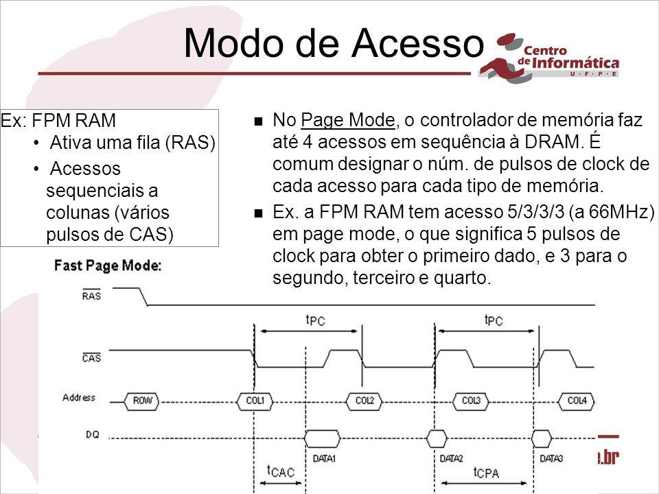 Modo de Acesso n No Page Mode, o controlador de memória faz até 4 acessos em sequência à DRAM. É comum designar o núm. de pulsos de clock de cada aces