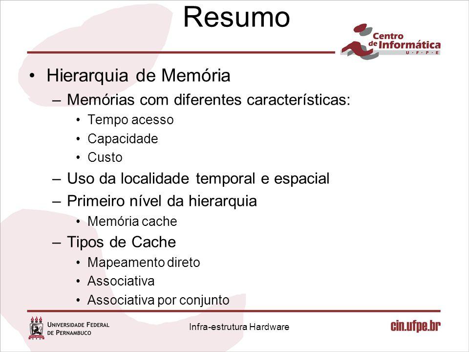 Resumo Hierarquia de Memória –Memórias com diferentes características: Tempo acesso Capacidade Custo –Uso da localidade temporal e espacial –Primeiro
