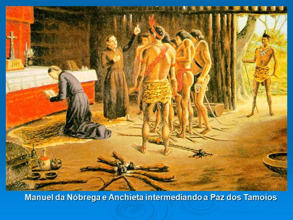 Manuel da Nóbrega e Anchieta intermediando a Paz dos Tamoios