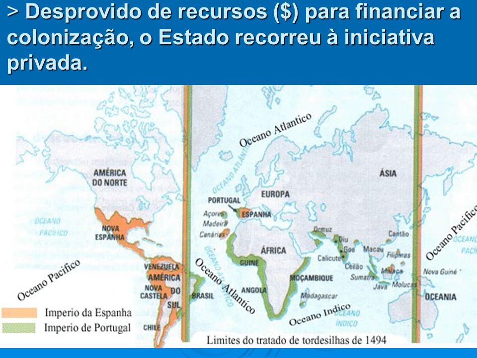 > Desprovido de recursos ($) para financiar a colonização, o Estado recorreu à iniciativa privada.