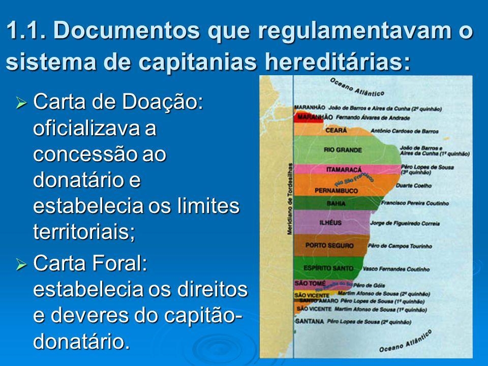 1.1. Documentos que regulamentavam o sistema de capitanias hereditárias:  Carta de Doação: oficializava a concessão ao donatário e estabelecia os lim